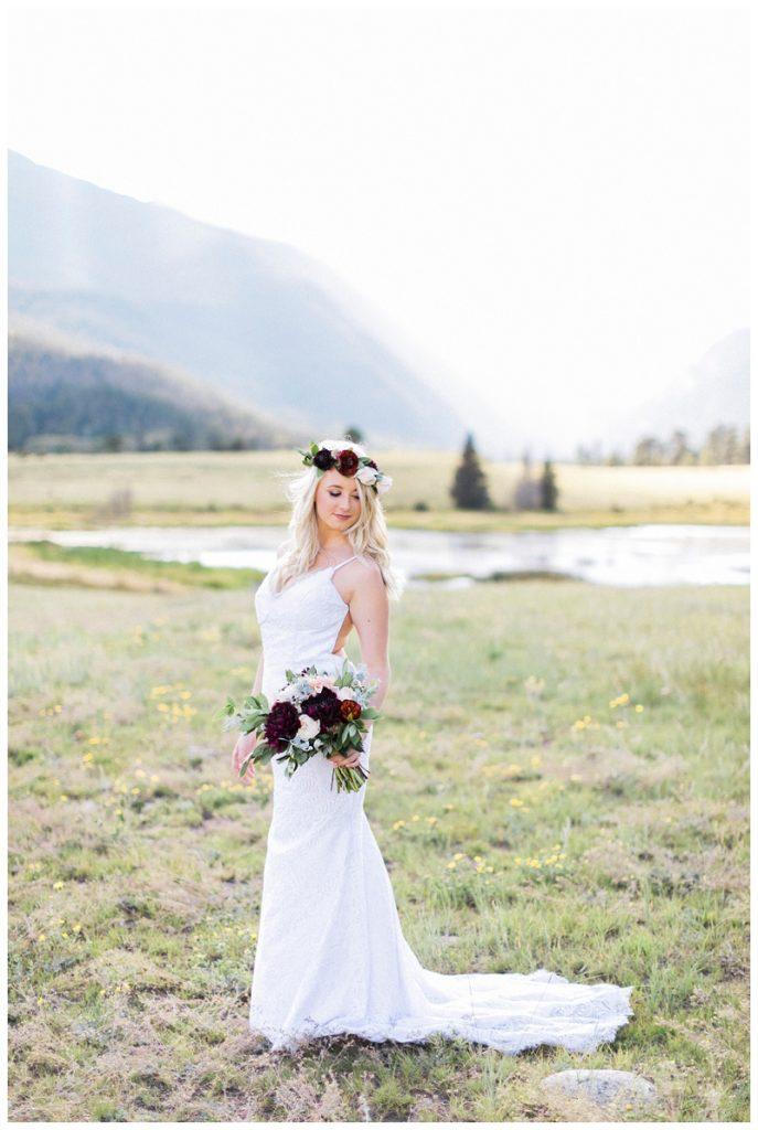 bridal portrait rocky mountain national park