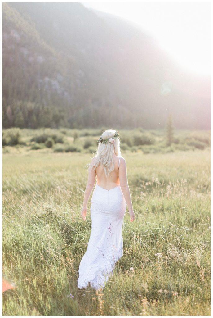 bride RMNP mountains walking sunset
