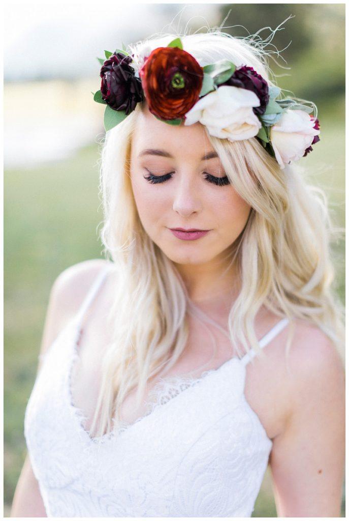 bridal portrait flower crown RMNP