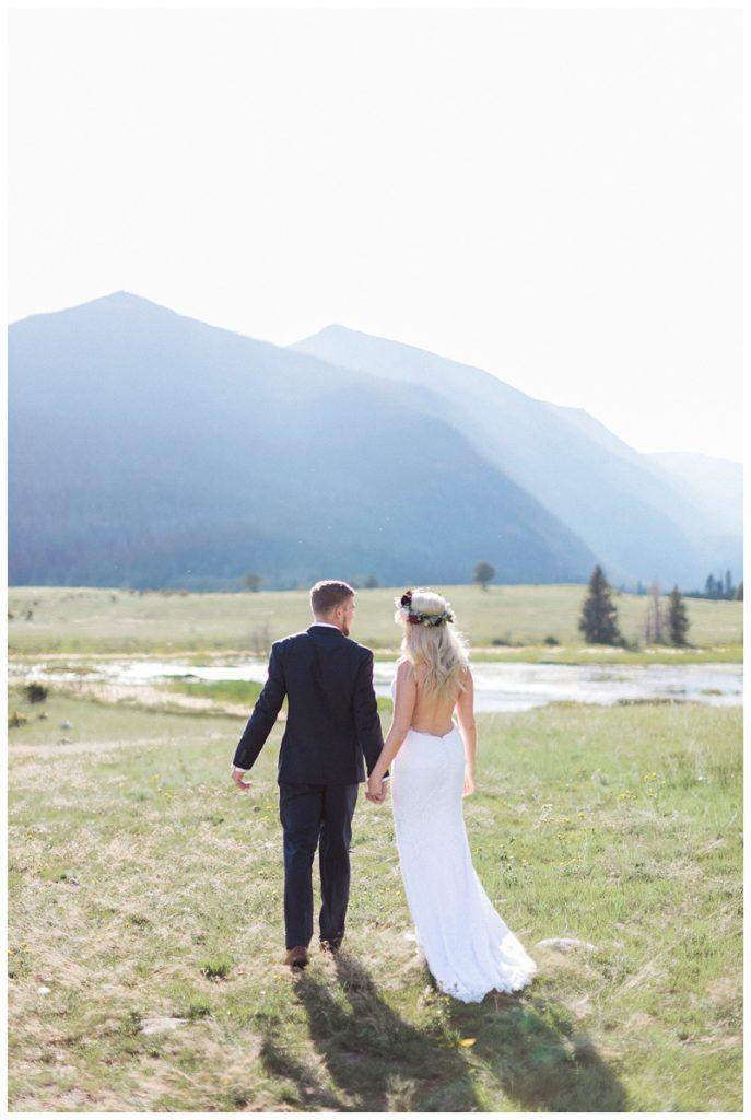 First look RMNP boho bride