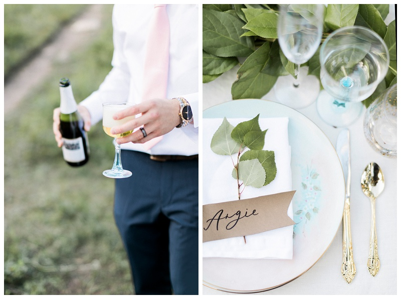 pouring champagne wedding reception place setting RMNP
