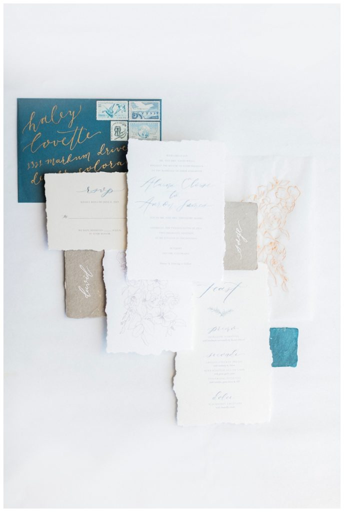 classic modern invitation suite wedding blue gold