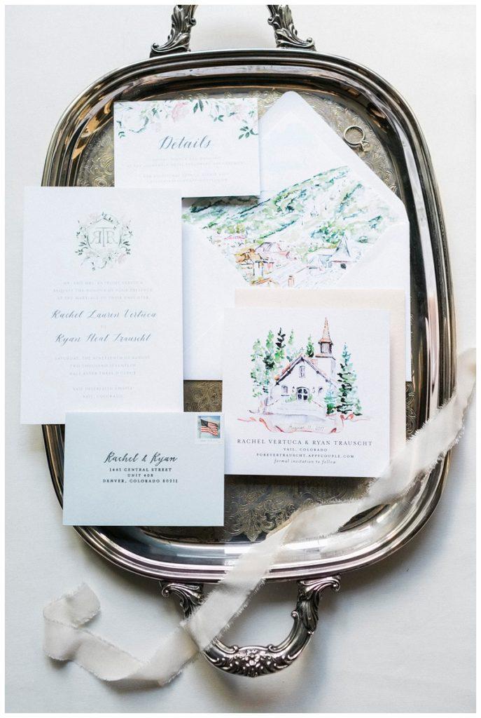 watercolor wedding invitation suite vail colorado