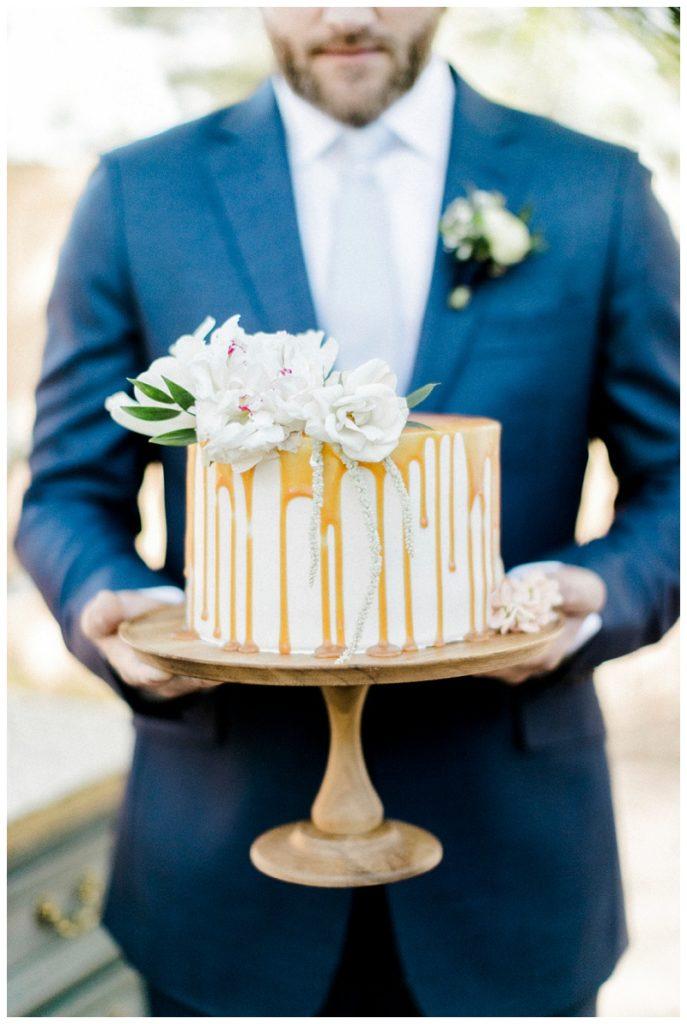 cake, navy suit, villa parker, colorado wedding