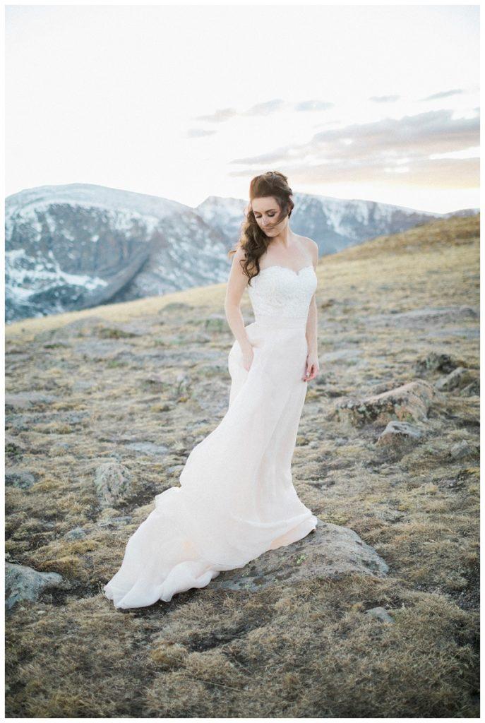 sunset photo bride wedding mountain top colorado rockies blush skirt
