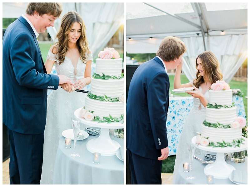 cake cutting outdoor reception wedding marquee tent three tier