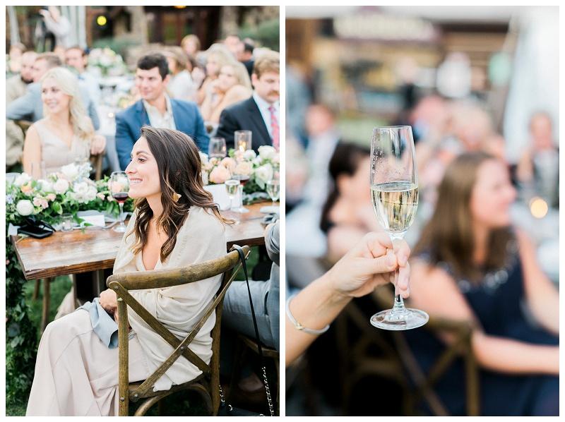 wedding guest cheers reception Ritz-Carlton, Bachelor Gulch outdooor