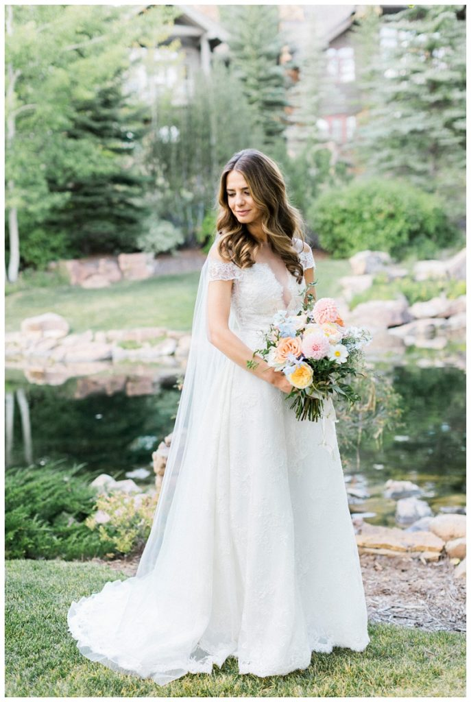 bridal portrait mountain wedding summer Ritz-Carlton, Bachelor Gulch colorado