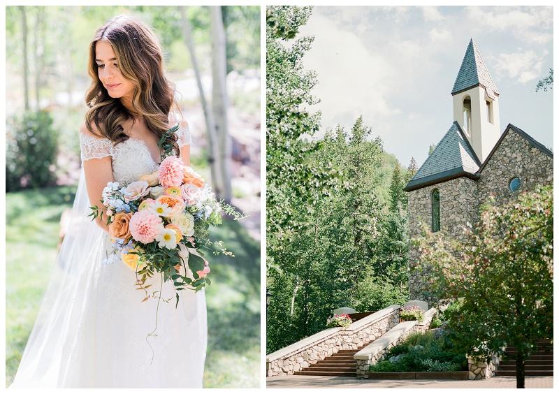 Chapel, beaver creek, bride, bouquet, summer wedding ceremony colorado photographer