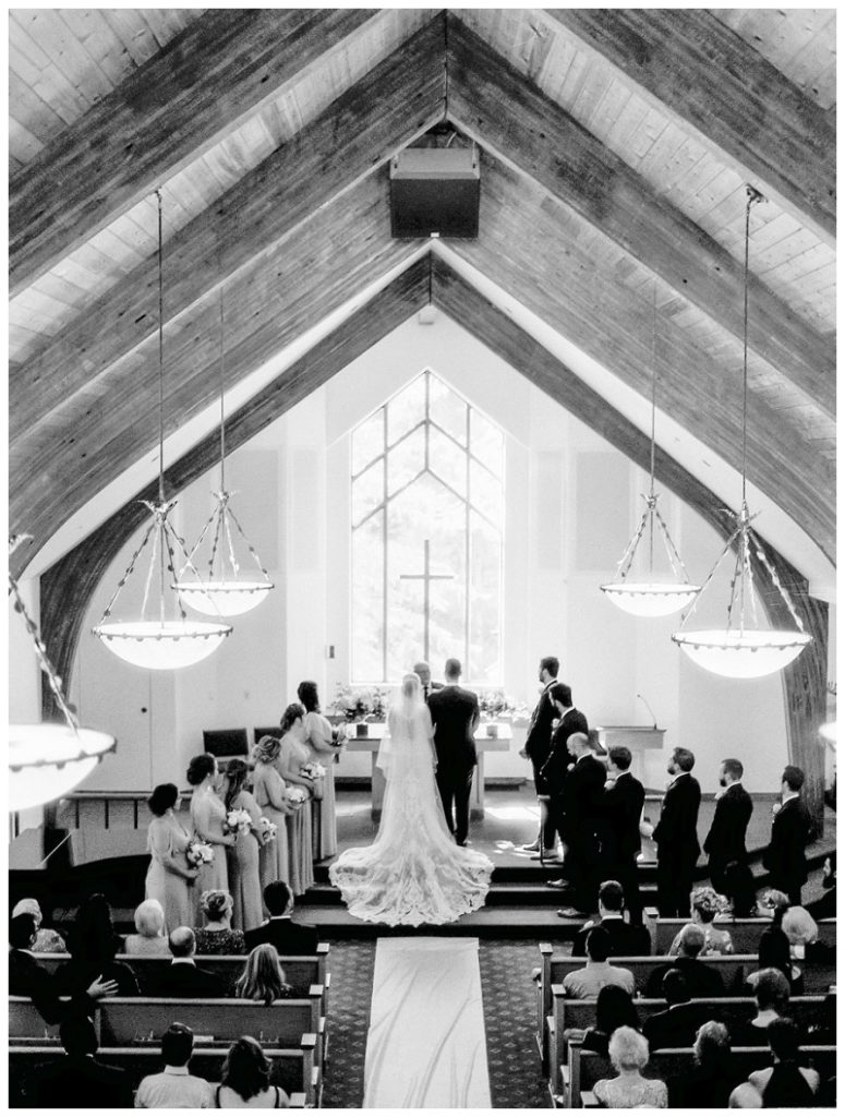 ceremony inside of interfaith chapel vail colorado